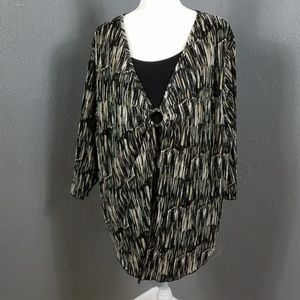 Maggie Barnes Plus Size 2X Blouse Top Striped
